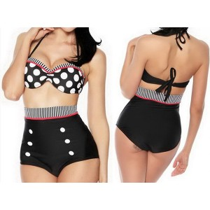 High Waisted Polka Dot Double-Breasted Spandex Sexy Halter Swimsuit For Women