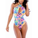 Hollow Out Floral Print One-Piece Sexy Halter Neck Women's Swimwear