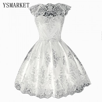 Hollow Out Lace Dress Short Sleeve Boat Neck Black White Champagne