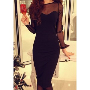 Jewel Neck Long Sleeves Voile Splicing Sexy Dress For Women black