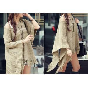 Knit Pattern Openwork Fringe Hem Cotton Blend Solid Color Sweater For Women dark khaki