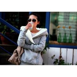 Korea Women Hoodie Jacket Coat Warm Outerwear hooded Zip gray