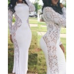 Lace Crochet Flower Splicing Stylish Round Neck Long Sleeve Women's Maxi Dress white black