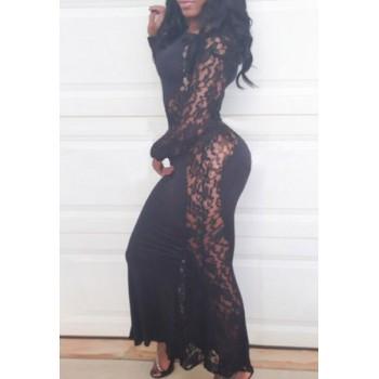 Lace Crochet Flower Splicing Stylish Round Neck Long Sleeve Women's Maxi Dress white black