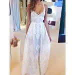Lace Embroidery See-Through Sexy Style Spaghetti Strap Women's Maxi Dress white black