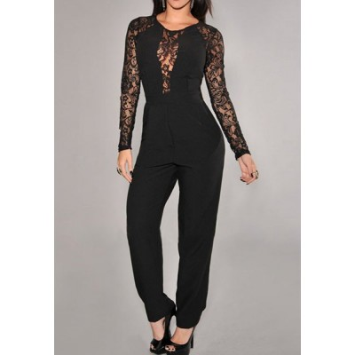 Lace Splicing Fashionable Round Neck Long Sleeve Women's Jumpsuits black