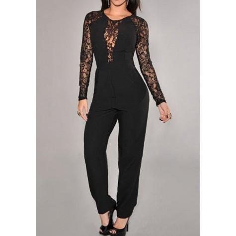 a6d7b6e4ce1 Lace Splicing Fashionable Round Neck Long Sleeve Women s Jumpsuits black