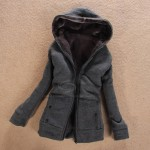 Laconic Hooded Zipper Design Solid Color Long Sleeve Thicken Slimming Fleece Coat For Women gray black