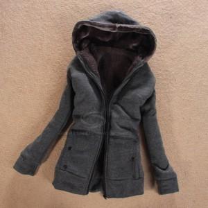 Laconic Hooded Zipper Design Solid Color Long Sleeve Thicken Slimming Fleece Coat For Women gray black