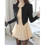 Ladylike Style Long Sleeve Round Collar Lace Zipper Faux Twinset For Women