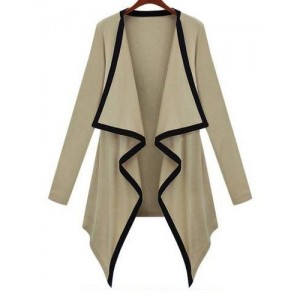Leisure Irregular Collar Asymmetrical Hem Color Block Long Sleeve Cardigan For Women khaki