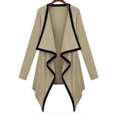 Leisure Irregular Collar Asymmetrical Hem Color Block Long Sleeve Cardigan For Women khaki