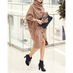 Long Edition Thickened Cable Knit Pattern Cotton Blend Solid Color Cardigan For Women camel red