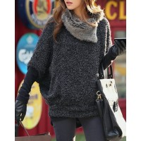 Loose-Fitting Batwing Sleeve Fashionable Turtle Neck With Fur Women's Sweater deep gray
