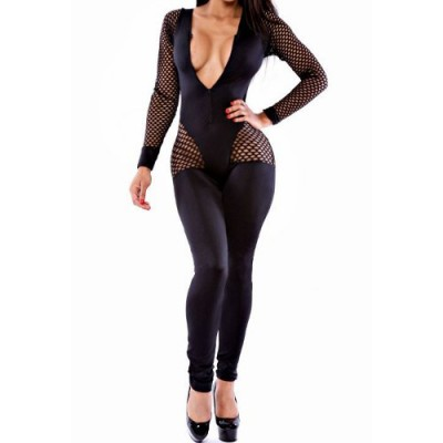 Mesh Splicing Long Sleeve Round Neck Hollow Out Design Jumpsuit For Women black