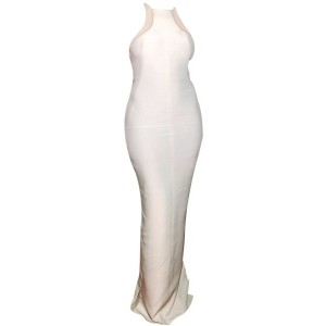 Mesh Splicing Sleeveless Round Collar Slit Side Design White Dress For Women white