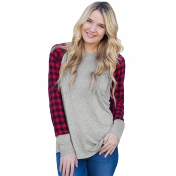 Monochrome Plaid Sleeve Charcoal Top Red Gray