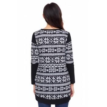 Multi Stripes Snowflake Print Long Sleeve Christmas Top Black White