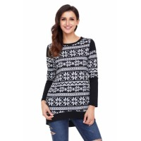 Multi Stripes Snowflake Print Long Sleeve Christmas Top Black White