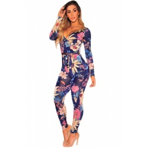 Navy Blue Floral Faux Wrap Long Sleeve Jumpsuit Black