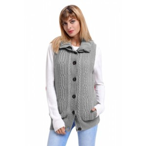 Navy Cable Knit Hooded Sweater Vest Black Brown Gray