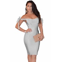 Off The Shoulder Sexy Bodycon Bandage Dress with Tie Bow