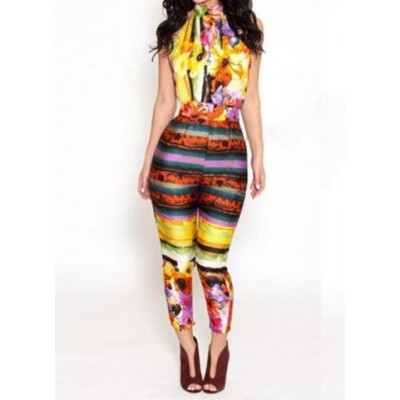 Sexy Halter Neck Sleeveless Backless Printed Jumpsuit For Women