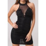 Sexy Jewel Neck Sleeveless Spliced See-Through Bodycon Dress For Women black