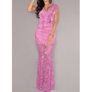 Sexy Lace Plunging Neck Short Sleeve See-Through Dress For Women purple black