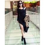 Sexy Laconic Solid Color Irregular Long Sleeves Dress For Women black