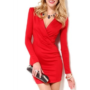 Sexy Long Sleeve Plunging Neck Solid Color Bodycon Dress For Women red white