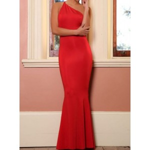 Sexy Oblique One Shoulder Sleeveless Backless Mermaid Trailing Evening Dress For Women red gray