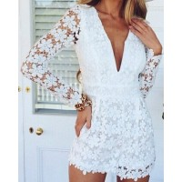 Sexy Plunging Neck Long Sleeve Lace Solid Color See-Through Jumpsuit For Women white