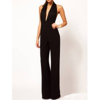 Sexy Plunging Neck Sleeveless Backless Lace Spliced Jumpsuit For Women black