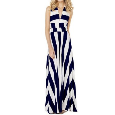 Sexy Plunging Neck Sleeveless Striped Special Design Dress For Women blue white