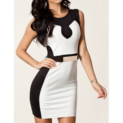 Sexy Round Neck Sleeveless Color Block Spliced Bodycon Slimming Dress For Women white and black