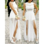 Sexy Round Neck Sleeveless Solid Color High Furcal See-Through Dress For Women white