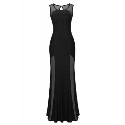 Sexy Round Neck Sleeveless Spliced Hollow Out Dress For Women black