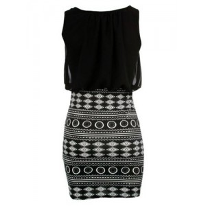 Sexy Round Neck Sleeveless Spliced Printed Bodycon Dress For Women black
