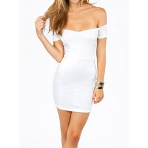 Sexy Slash Collar Sleeveless Low Cut Bodycon Women's Dress black white