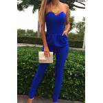 Sexy Strapless Off The Shoulder Sleeveless Pockets Design Blue One-piece Skinny Jumpsuit For Women blue