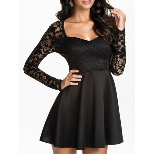 Sexy V Neck Long Sleeve Low Cut Spliced Dress For Women Black Sexy