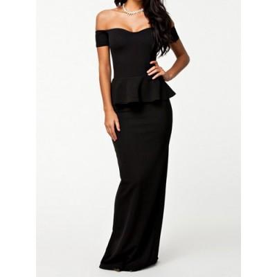 Sexy Women's Boat Neck Black Peplum Dress