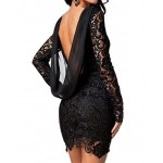 Sexy Women's Jewel Neck Backless Long Sleeve Lace Dress black red