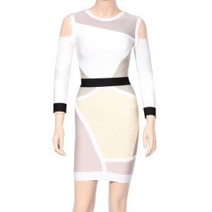 Sexy Women's Jewel Neck Hollow Out Bandage Dress white black