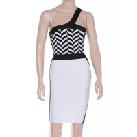 Sexy Women's One-Shoulder Color Block Slimming Bandage Dress black white