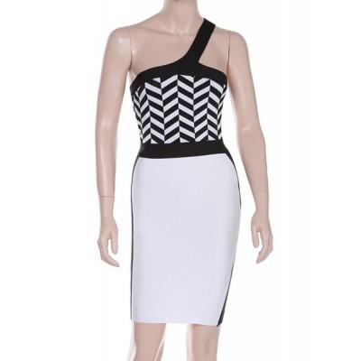 Sexy Women's One-Shoulder Color Block Slimming Bandage Dress black white