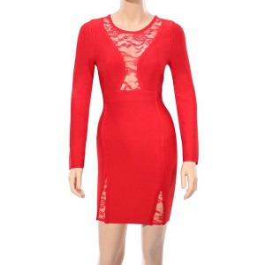 Sexy Women's Round Neck Lace Splicing Long Sleeve Bandage Dress red