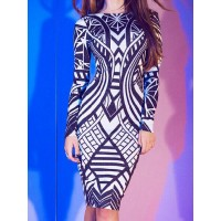 Sexy Women's Round Neck Long Sleeve Printed Bodycon Dress black white