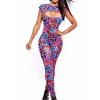 Sexy Women's Round Neck Printed Hollow Out Short Sleeve Jumpsuit
